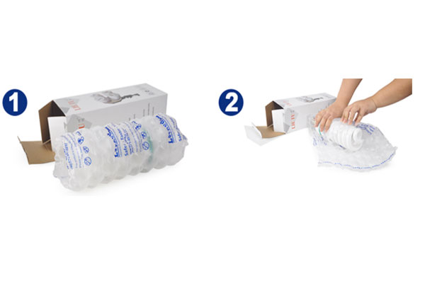 Packaging with a cushioned air cushion with a package mat, combined with a filled air bag, protects the product so that the luminaire fits the package and the package does not shake, ensuring the safety of the entire package transportation process.