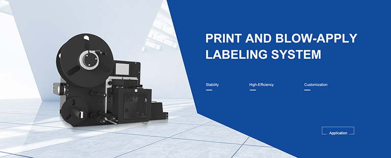 PRINT AND BLOW-APPLY LABELING SYSTEM