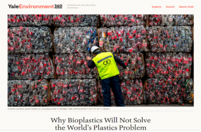 Yale University: Why Can't Bioplastics Solve the World's Plastic Pollution Problem?